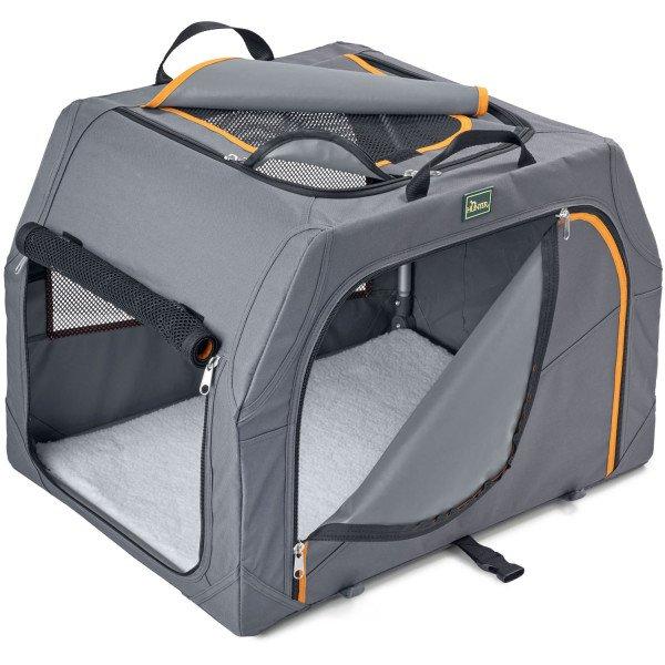Hundetransportbox mit Aluminium-Gestell und Tragetasche